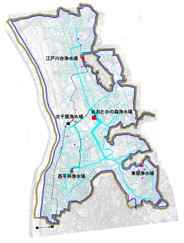 流山市内の浄水場|流山市