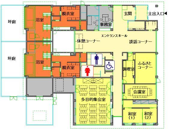 ほっとプラザ下花輪の施設平面図(エントランスホールを中心に西側に浴室ゾーン、南側に集会ゾーンなどがあります。)